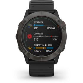Garmin Fenix 6X Pro Solar Titanium DLC Multisport GPS Smartwatch, black/slate grey